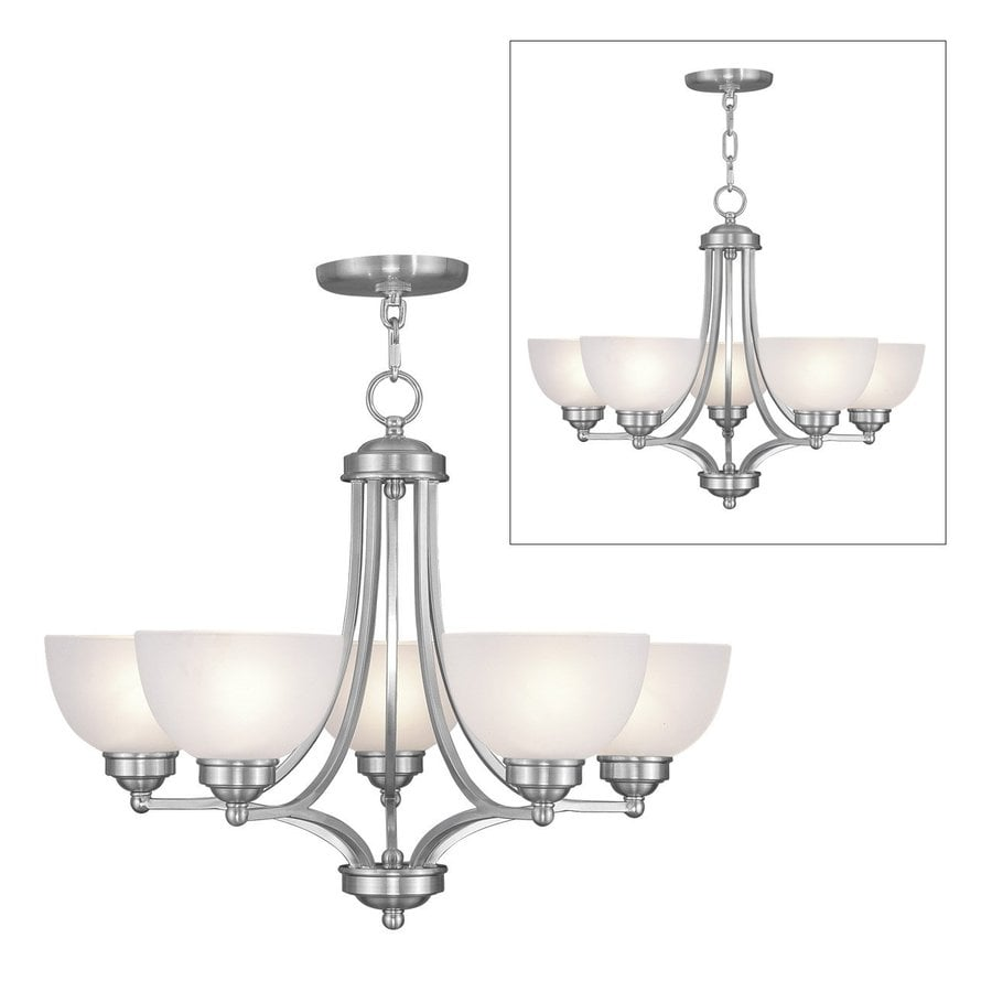 Livex Lighting Somerset 25-in 5-Light Brushed Nickel Industrial Shaded Chandelier