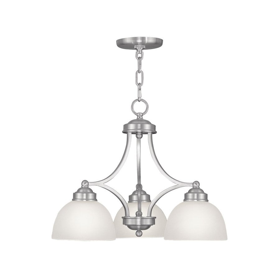 Livex Lighting Somerset 20-in 3-Light Brushed Nickel Industrial Shaded Chandelier