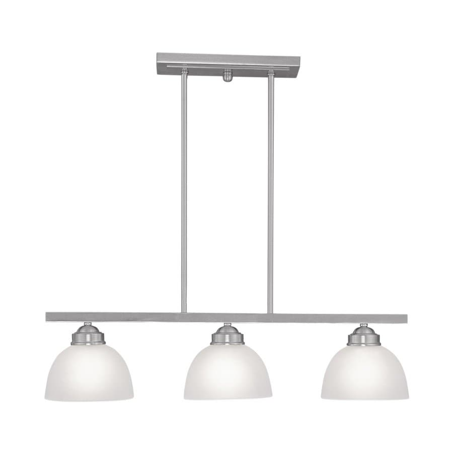 Livex Lighting Somerset 6.5-in W 3-Light Brushed Nickel Kitchen Island Light with Shade