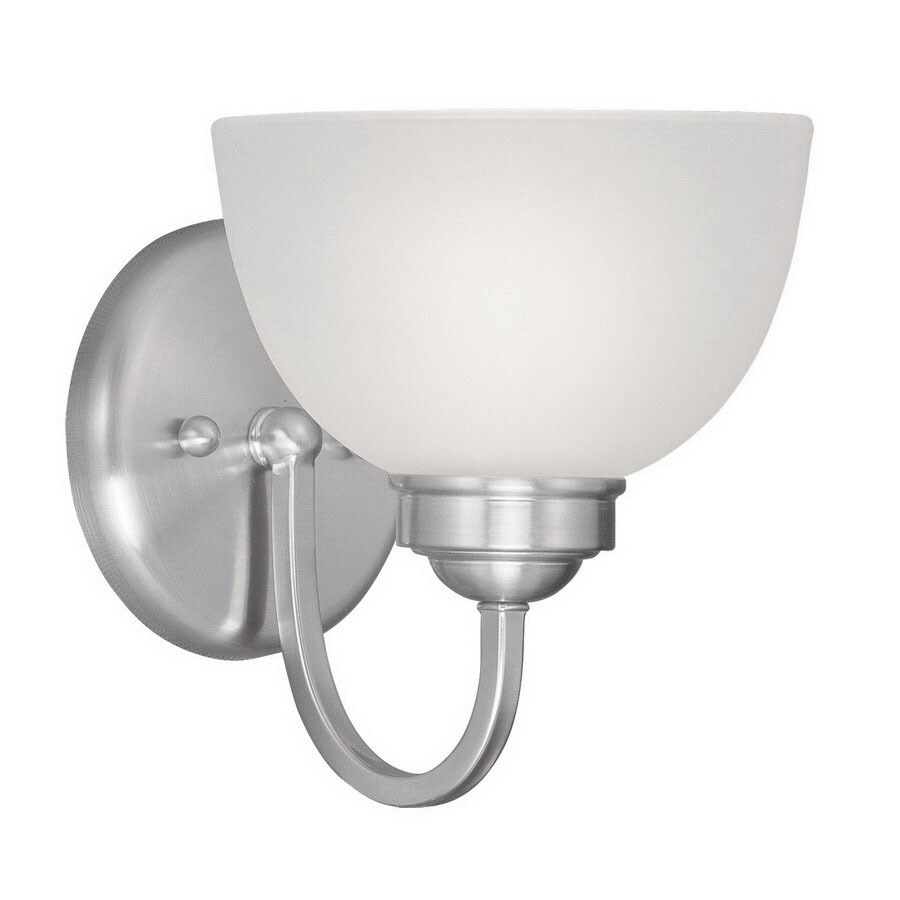 Livex Lighting Somerset 6.5-in W 1-Light Brushed Nickel Arm Hardwired Wall Sconce