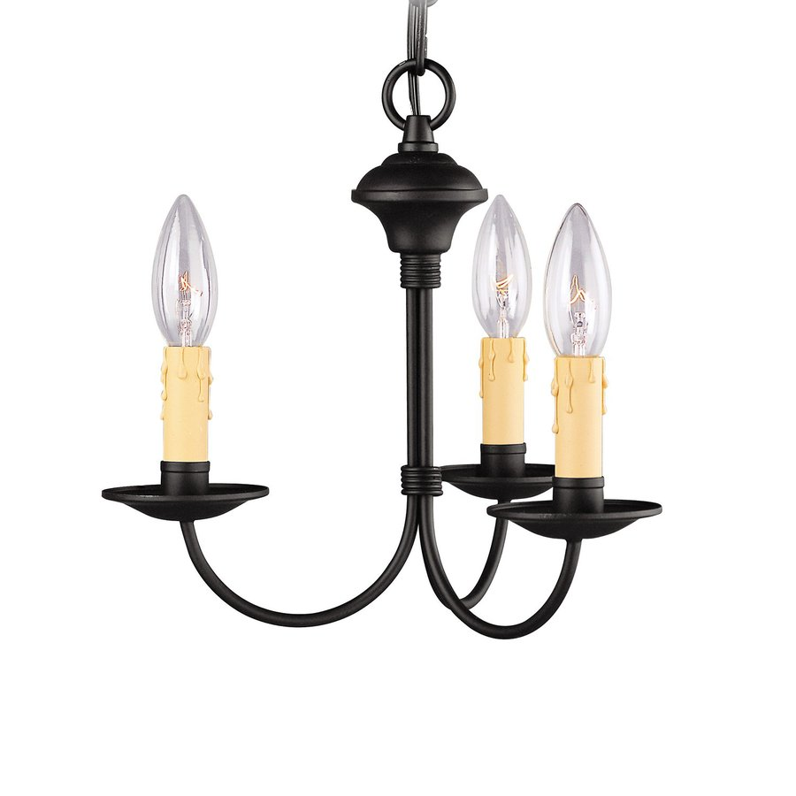 lighting heritage 13 in 3 light black candle chandelier at