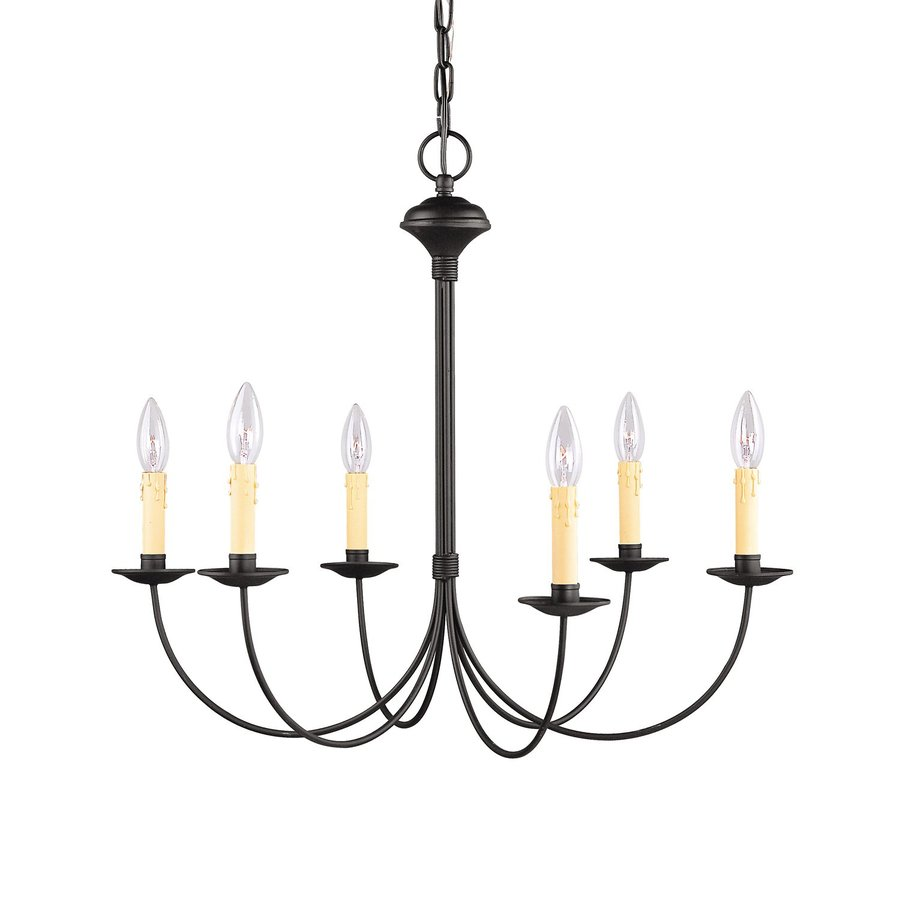 Livex Lighting Heritage 26-in 6-Light Black Candle Chandelier