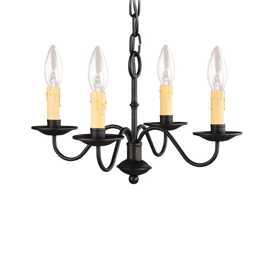 Livex Lighting Heritage 15-in 4-Light Black Candle Chandelier