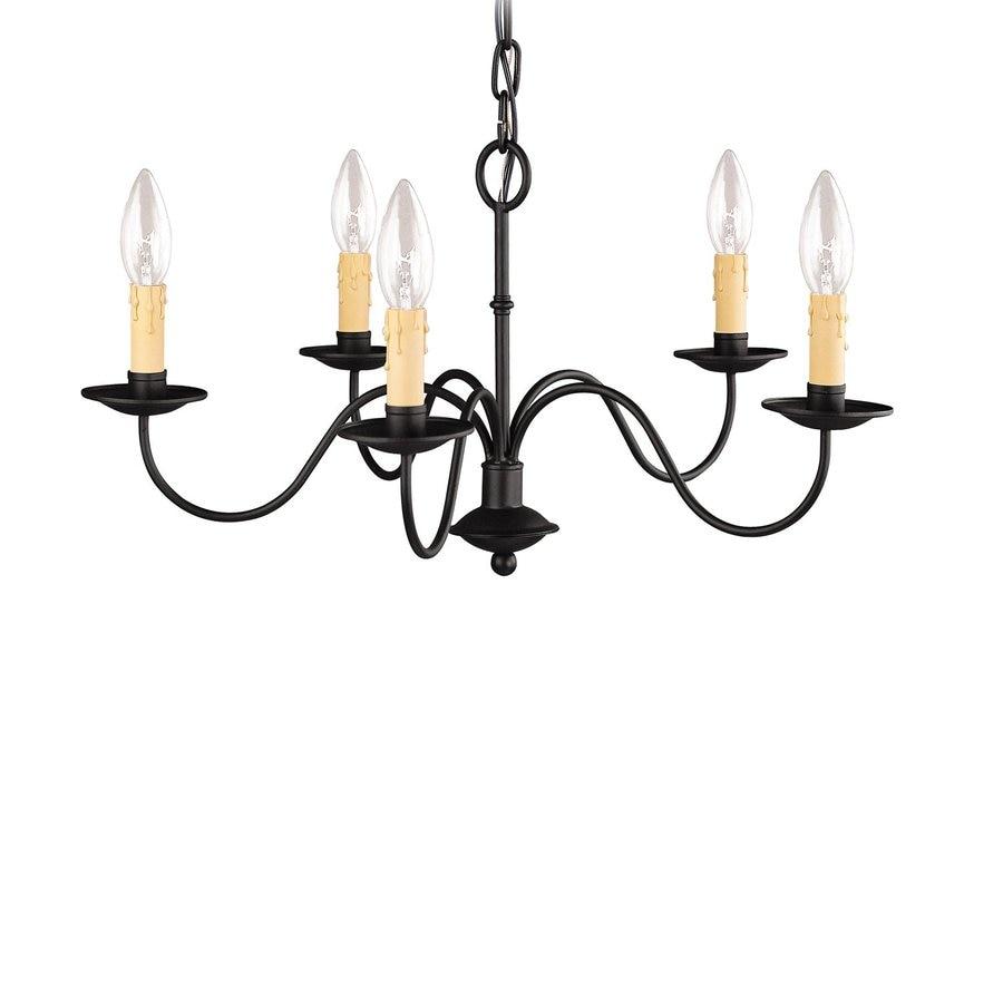 Livex Lighting Heritage 20-in 5-Light Black Candle Chandelier