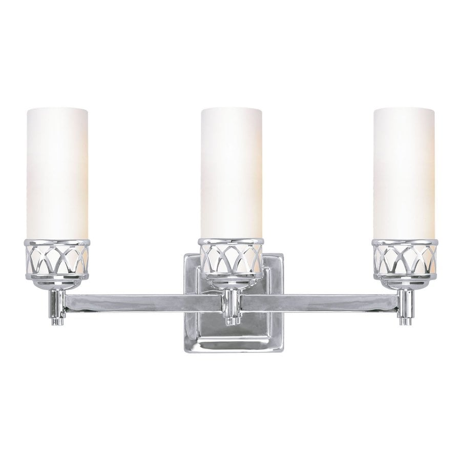 Three Light Bathroom Vanity Light: Shop Livex Lighting Westfield 3-Light 17.5-in Chrome Cylinder Vanity Light At Lowes.com