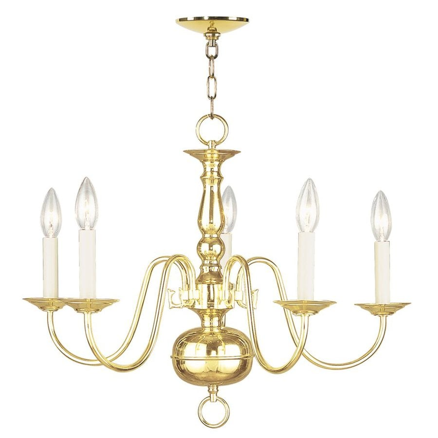 Livex Lighting Williamsburg 24-in 5-Light Polished Brass Candle Chandelier