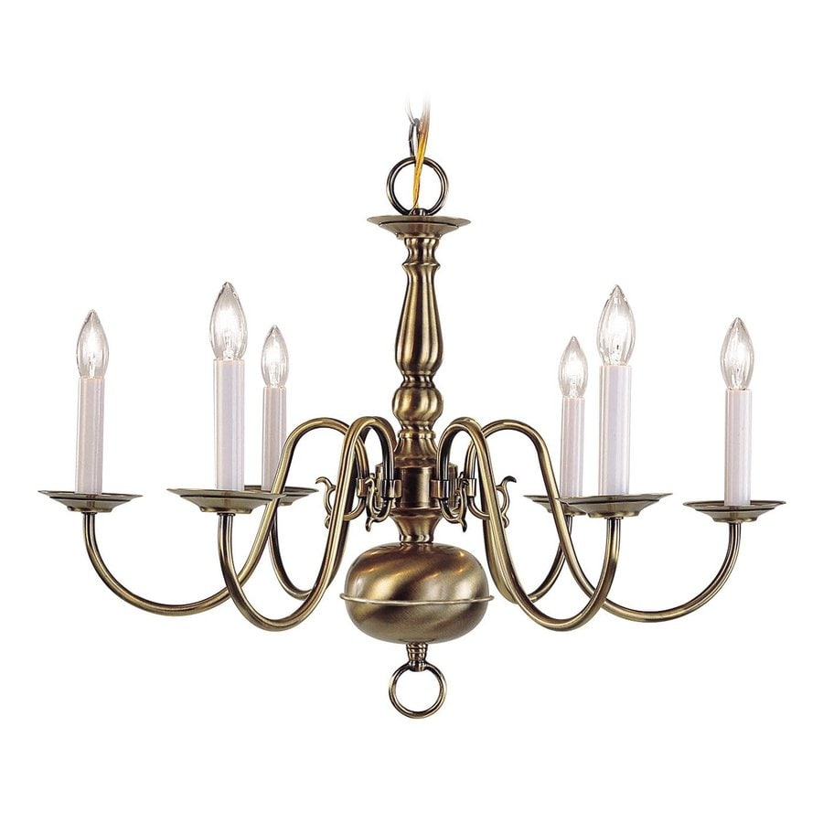 Shop livex lighting williamsburg 24 in 6 light antique brass candle livex lighting williamsburg 24 in 6 light antique brass candle chandelier aloadofball Choice Image