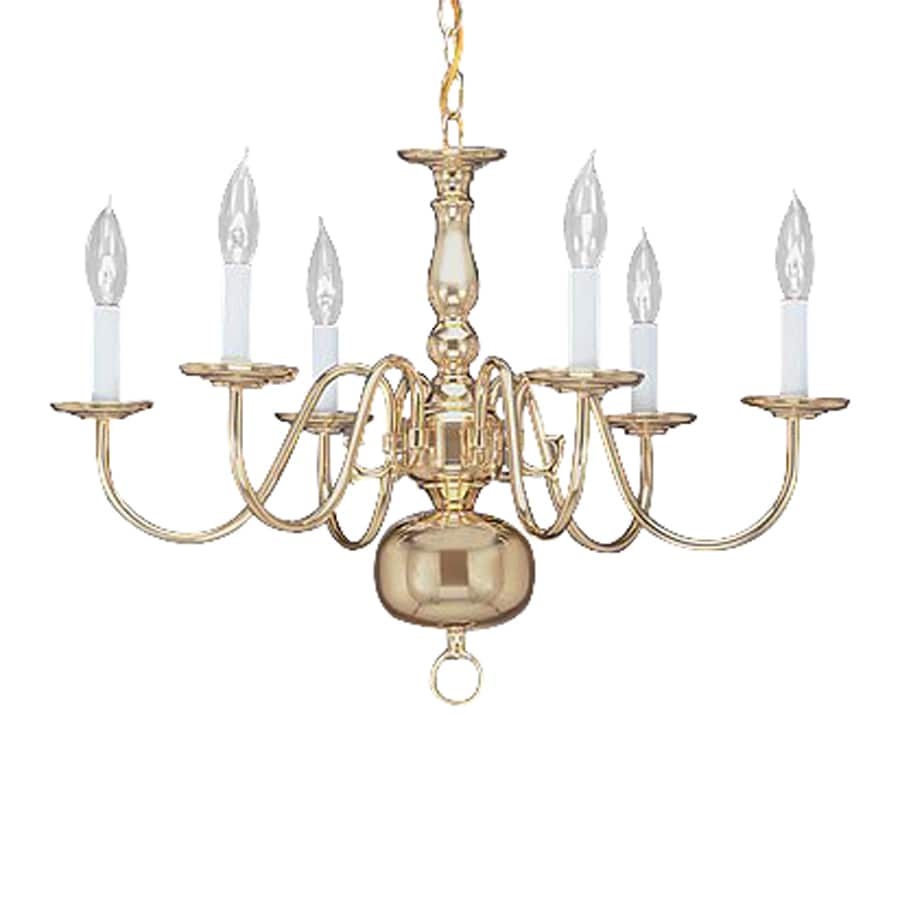 Livex Lighting Williamsburg 24-in 6-Light Polished Brass Candle Chandelier
