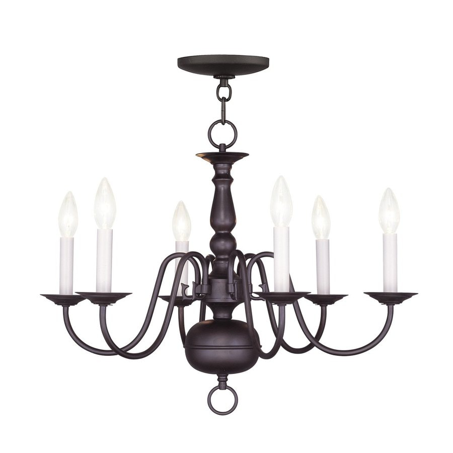 Livex Lighting Williamsburg 24-in 6-Light Bronze Candle Chandelier