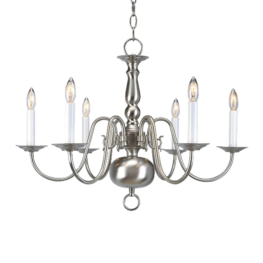 Livex Lighting Williamsburg 24-in 6-Light Brushed nickel Candle Chandelier