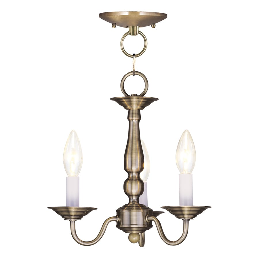 Livex Lighting Williamsburg 11-in 3-Light Antique Brass Candle Chandelier