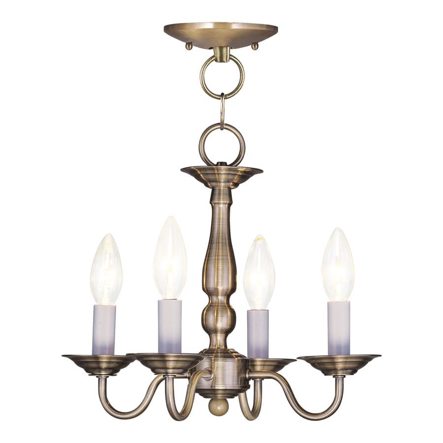 Livex Lighting Williamsburg 13-in 4-Light Antique Brass Candle Chandelier
