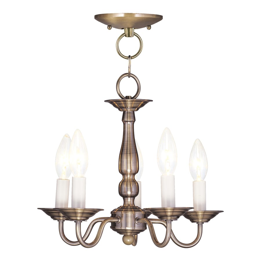 Livex Lighting Williamsburg 13-in 5-Light Antique Brass Candle Chandelier