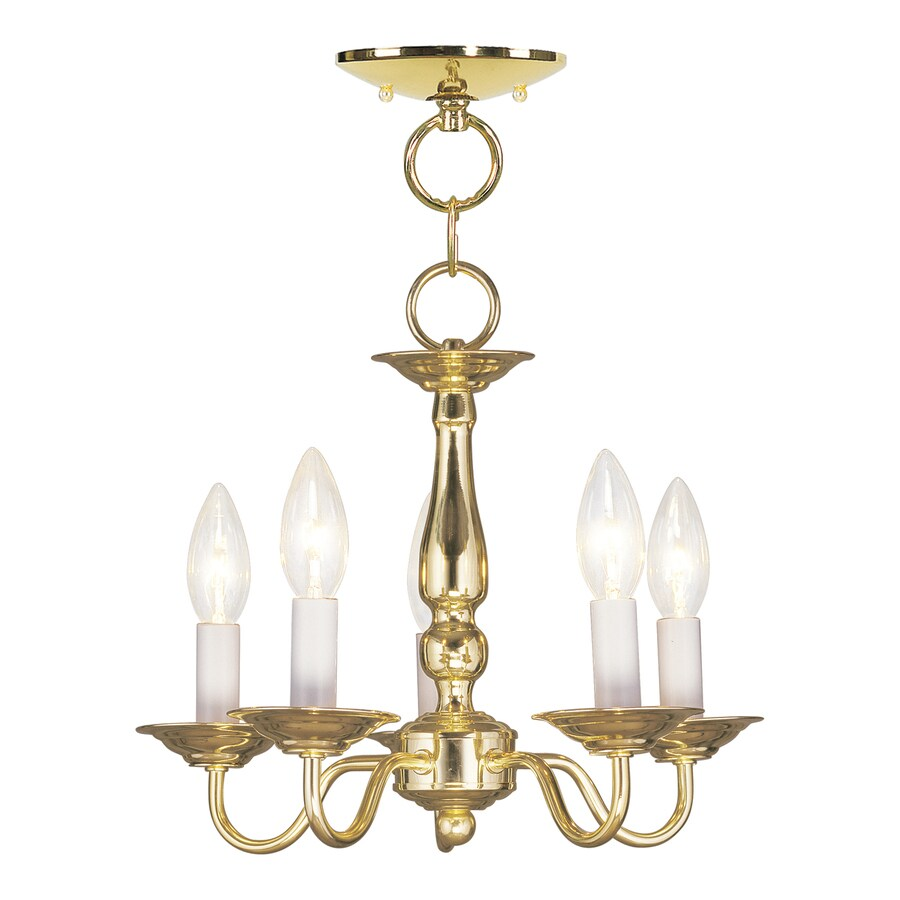 Livex Lighting Williamsburg 13-in 5-Light Polished Brass Candle Chandelier