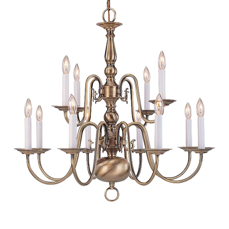 Shop livex lighting williamsburg 26 in 12 light antique brass candle chandelier at - Light fixtures chandeliers ...
