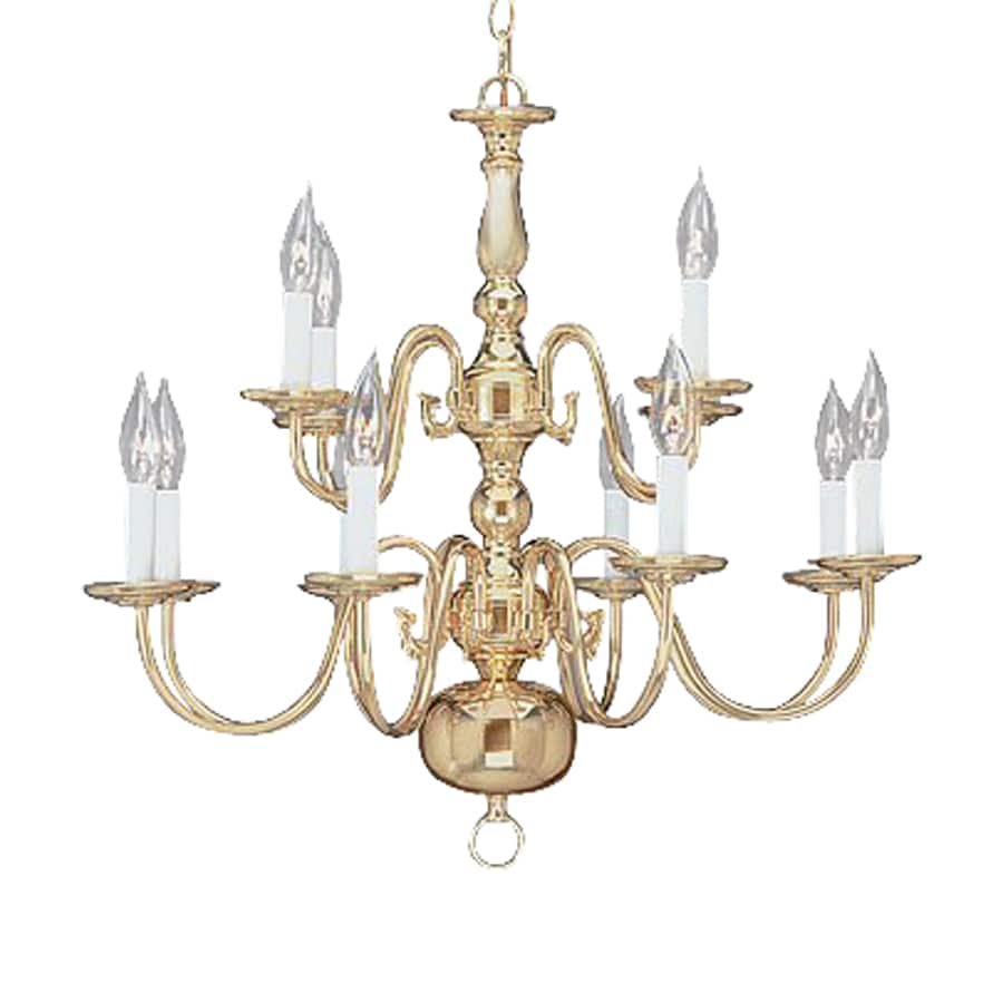 Livex Lighting Williamsburg 26-in 12-Light Polished Brass Candle Chandelier