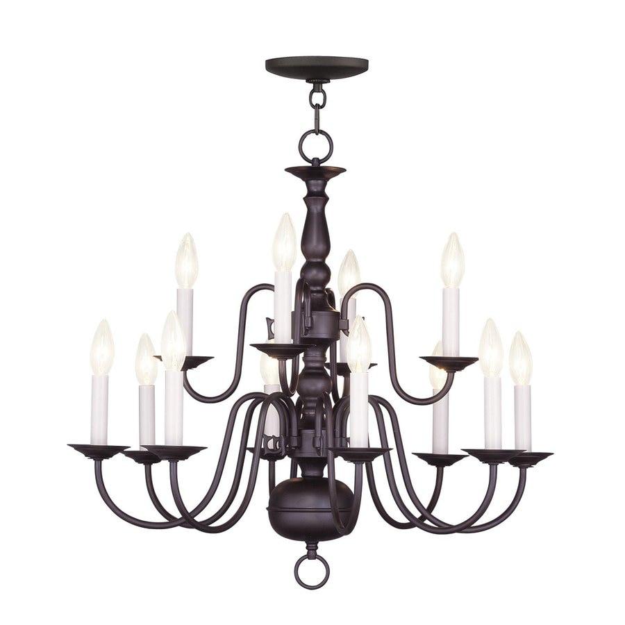 Livex Lighting Williamsburg 26-in 12-Light Bronze Candle Chandelier