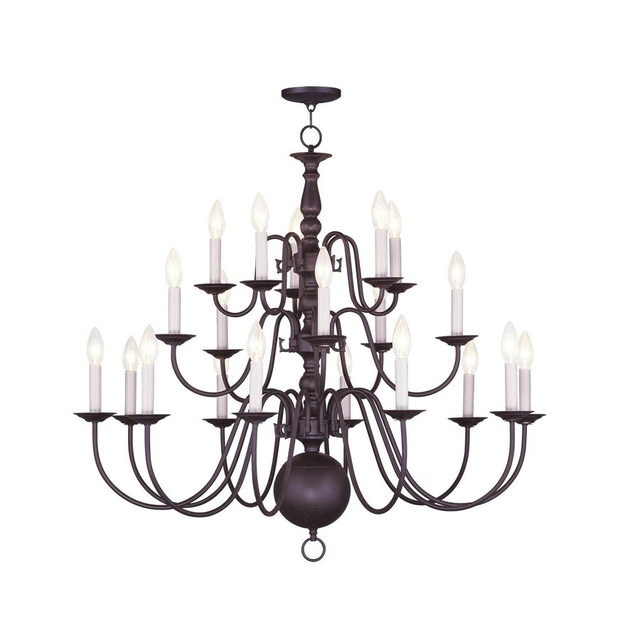 Livex Lighting Williamsburg 36-in 20-Light Bronze Tiered Chandelier