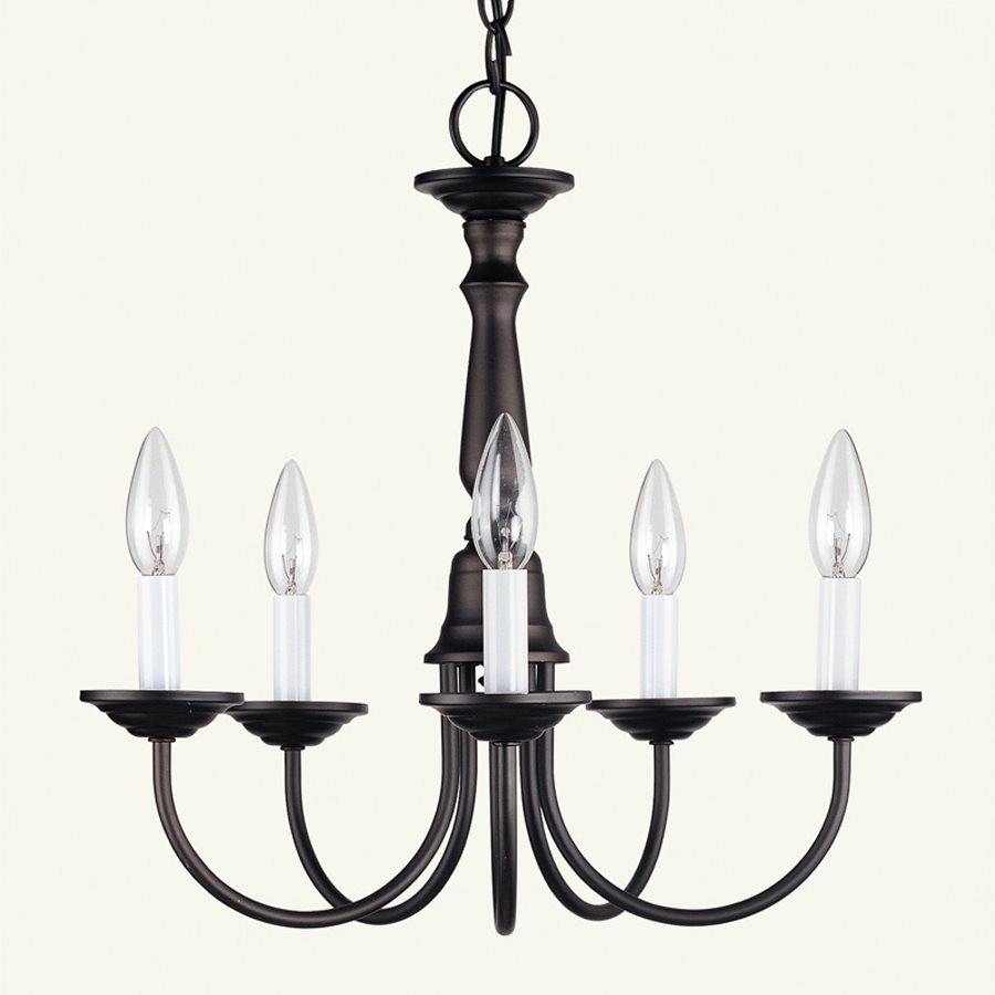 Livex Lighting Home Basics 17.5-in 5-Light Bronze Candle Chandelier
