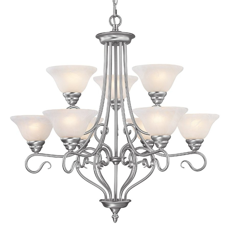 Livex Lighting Coronado 31-in 9-Light Brushed nickel Alabaster Glass Shaded Chandelier