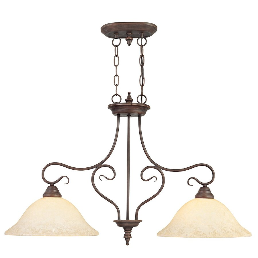 Livex Lighting Coronado 34.5-in W 2-Light Imperial Bronze Kitchen Island Light with Tinted Shades