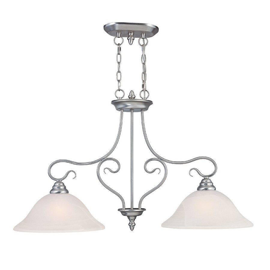 Livex Lighting Coronado 34.5-in W 2-Light Brushed Nickel Kitchen Island Light with Alabaster Shades