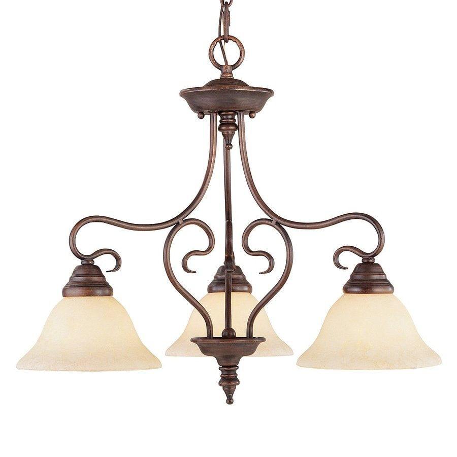 Livex Lighting Coronado 24-in 3-Light Imperial Bronze Shaded Chandelier