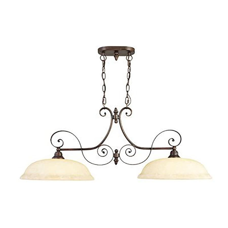 Livex Lighting Manchester 40.5-in W 2-Light Imperial Bronze Kitchen Island Light with Tinted Shades