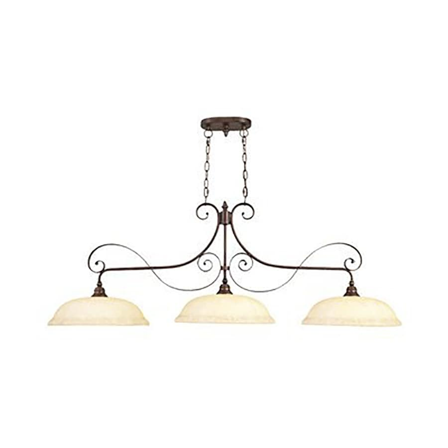 Livex Lighting Manchester 55-in W 3-Light Imperial Bronze Kitchen Island Light with Tinted Shades