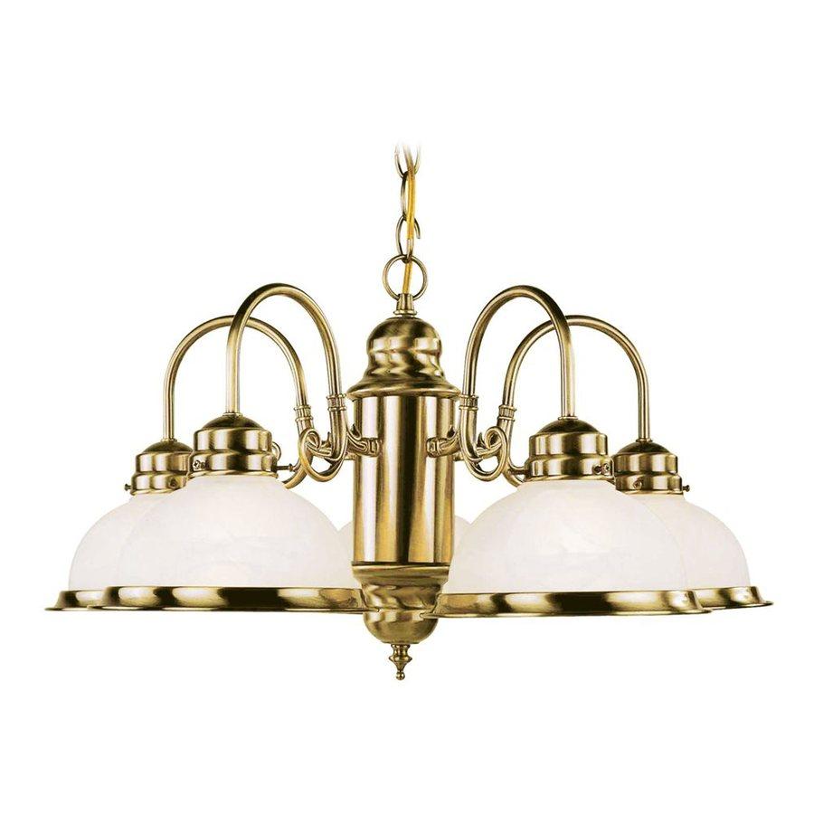 Livex Lighting Home Basics 22-in 5-Light Antique Brass Alabaster Glass Shaded Chandelier