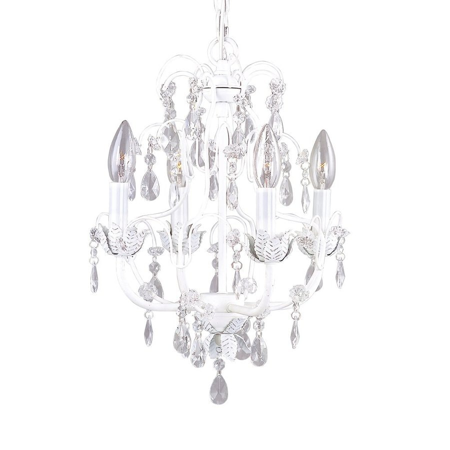 Livex Lighting Athena 14-in 4-Light Antique White Crystal Candle Chandelier