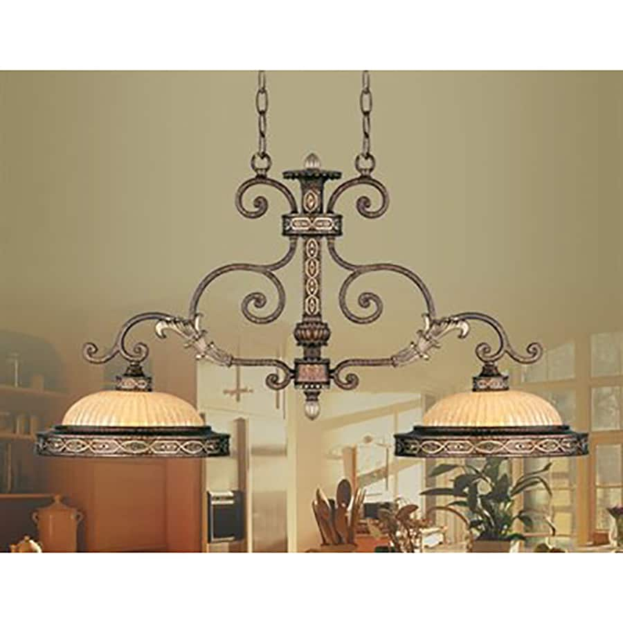 Livex Lighting Seville 13-in W 2-Light Palacial Bronze with Gilded Accents Kitchen Island Light with Shade