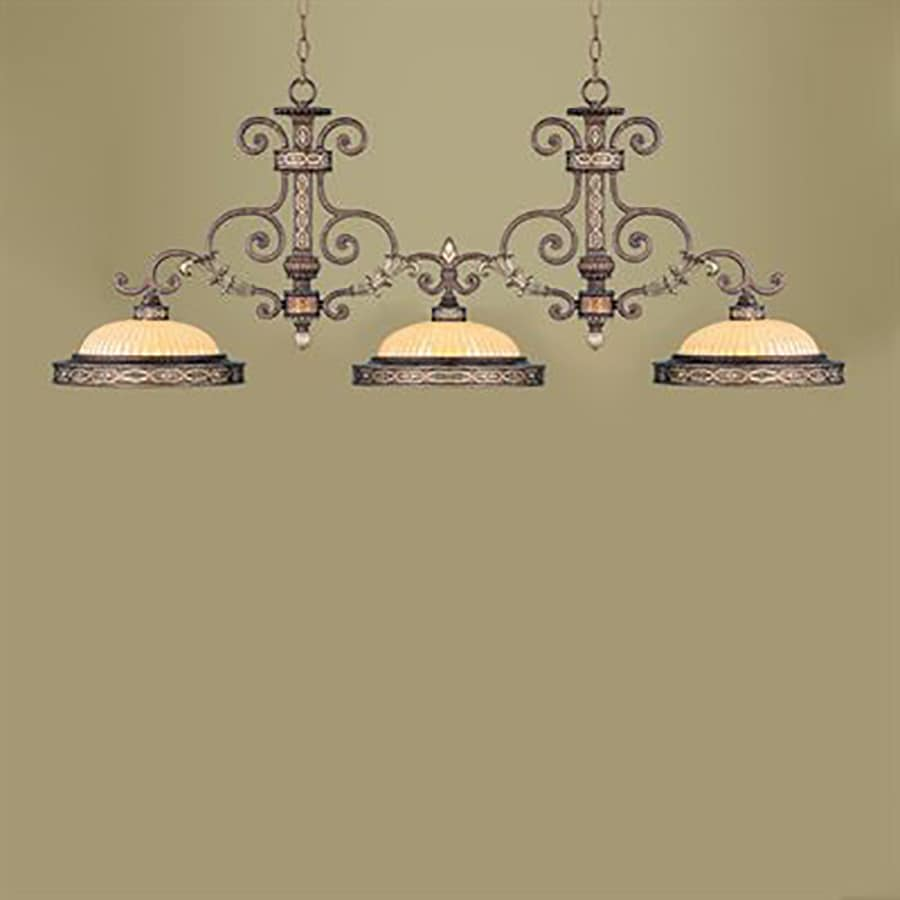 Livex Lighting Seville 53-in W 3-Light Palatial Bronze with Gilded Accents Kitchen Island Light with Ribbed Shades