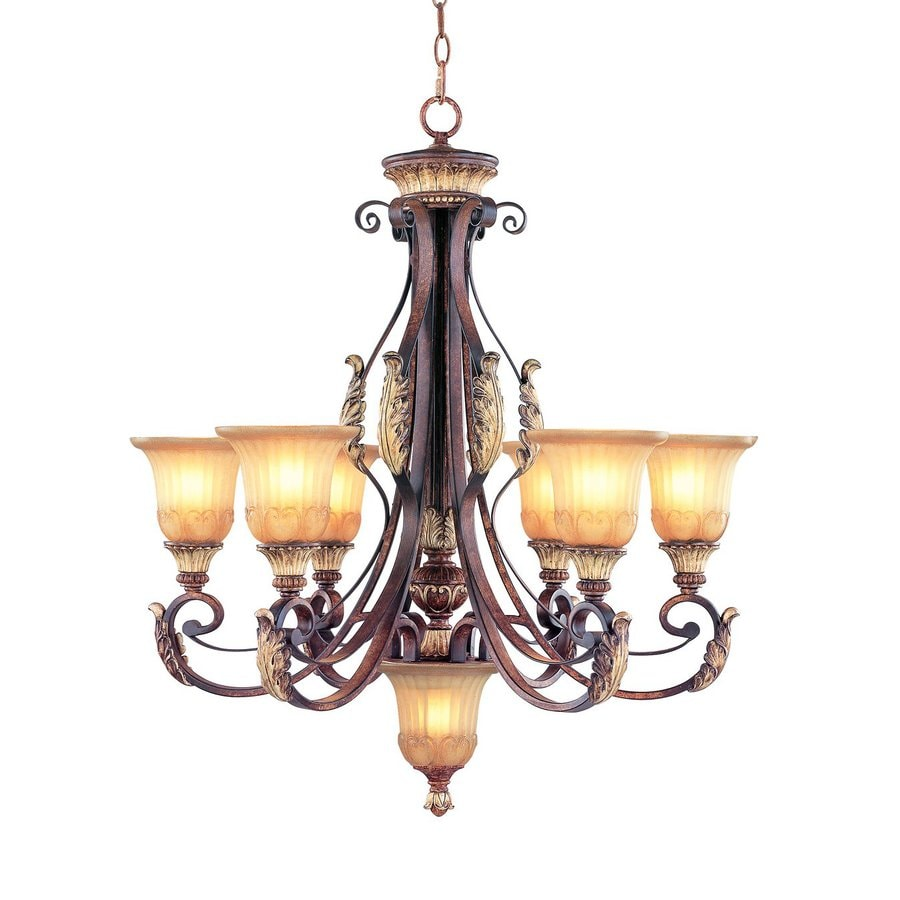 Shop livex lighting villa verona 7 light verona bronze for Mediterranean lighting fixtures