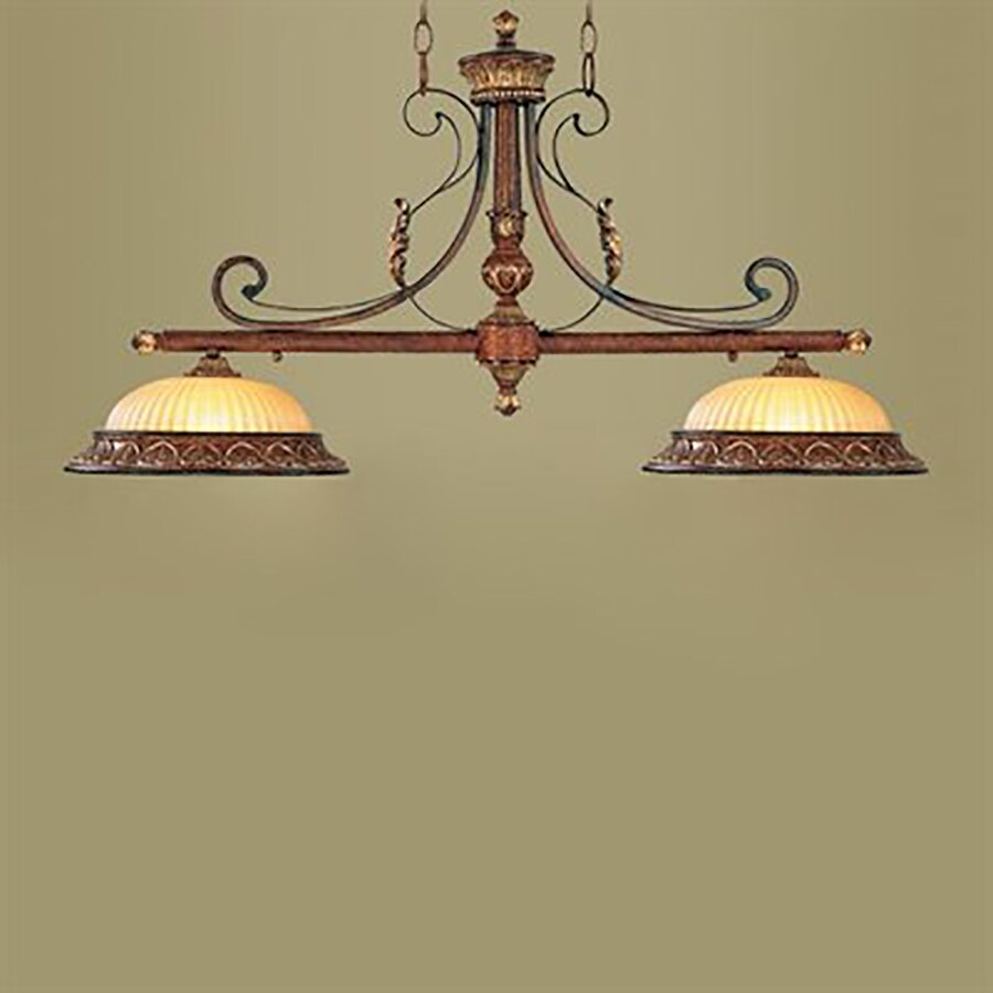 Livex Lighting Villa Verona 40-in W 2-Light Verona Bronze Kitchen Island Light with Ribbed Shades