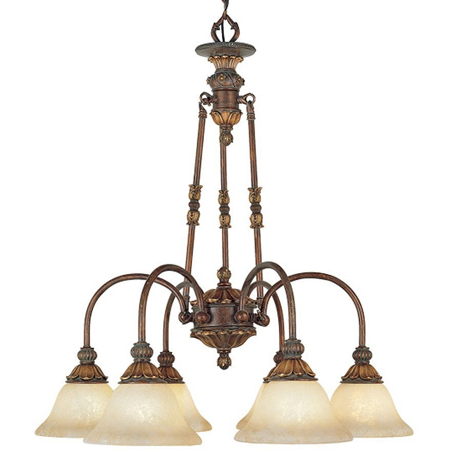 Livex Lighting Sovereign 27-in 6-Light Crackled Greek Bronze Shaded Chandelier
