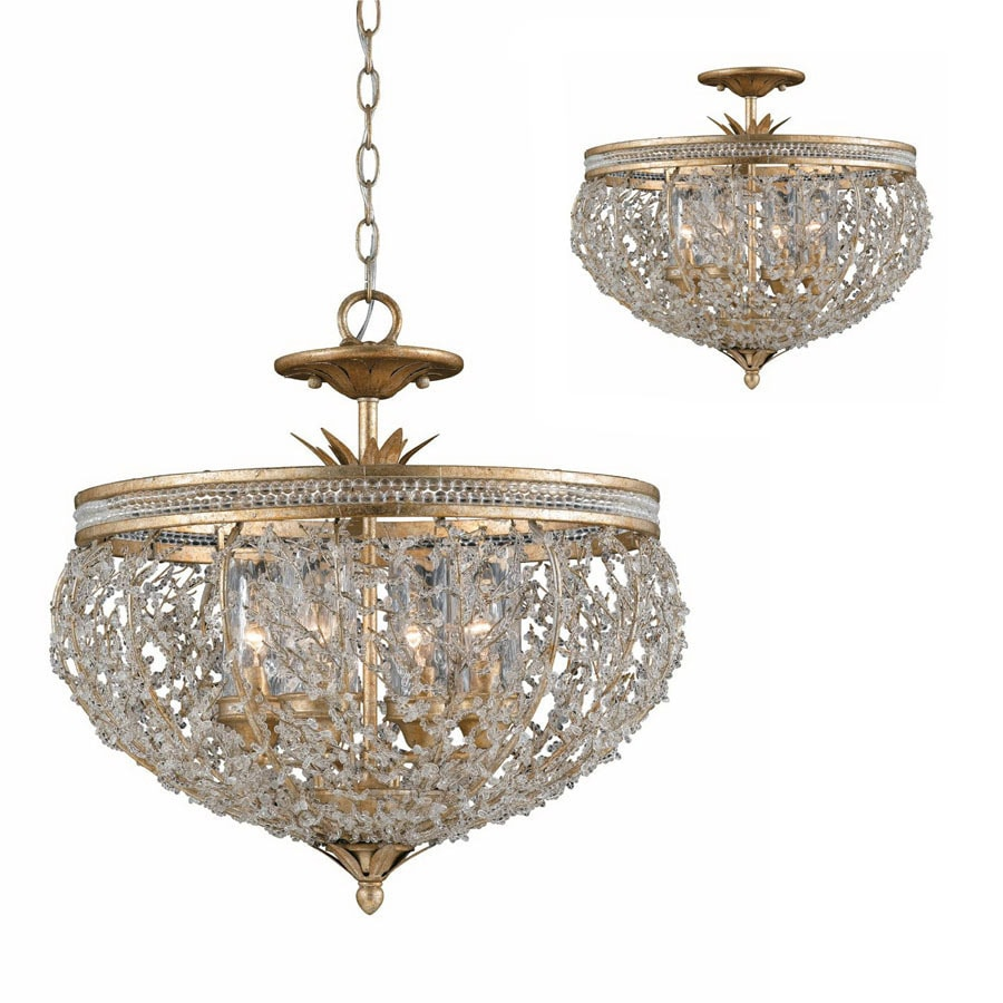 Shop triarch international garland 22 in w goldsilver leaf triarch international garland 22 in w goldsilver leaf crystal pendant light with shade arubaitofo Image collections