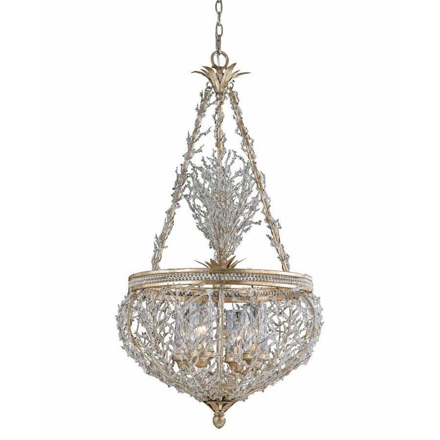 Triarch International Garland 22 In W Gold/Silver Leaf Crystal Pendant Light  With Shade