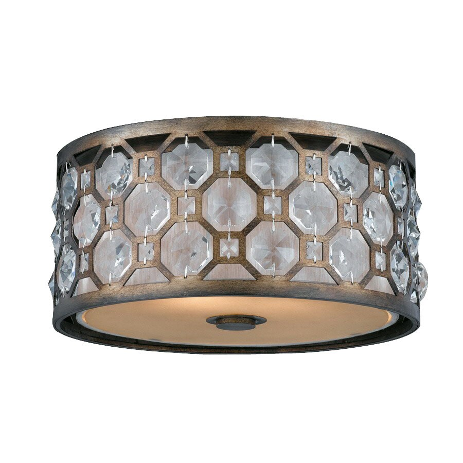 Triarch International 15-in W Weathered Bronze Crystal Accent Ceiling Flush Mount