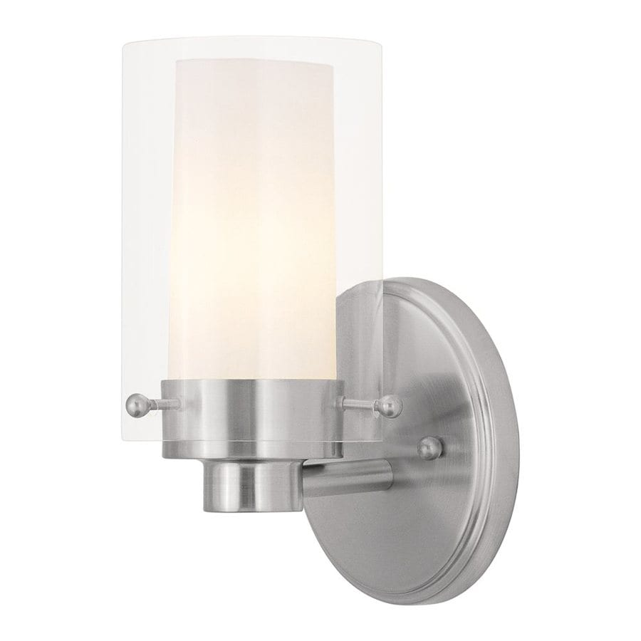 Livex Lighting Manhattan 5-in W 1-Light Brushed Nickel Arm Hardwired Wall Sconce