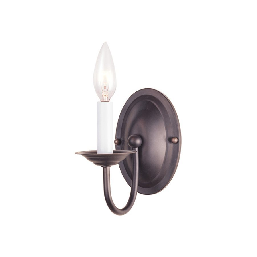 Livex Lighting Williamsburg 4.25-in W 1-Light Bronze Arm Wall Sconce