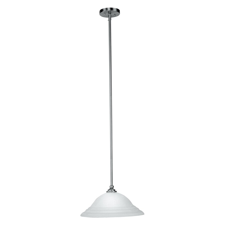 Livex Lighting North Port 16-in Brushed Nickel Single Alabaster Glass Bell Pendant