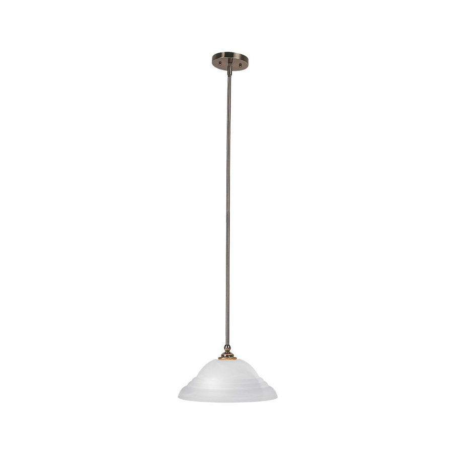 Livex Lighting North Port 13-in Antique Brass Single Alabaster Glass Bell Pendant