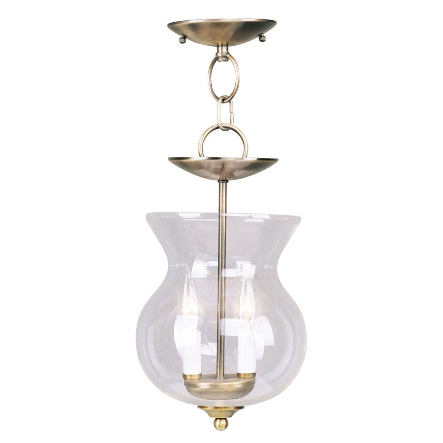 Livex Lighting Home Basics 8.25-in Antique Brass Vintage Mini Clear Glass Urn Pendant