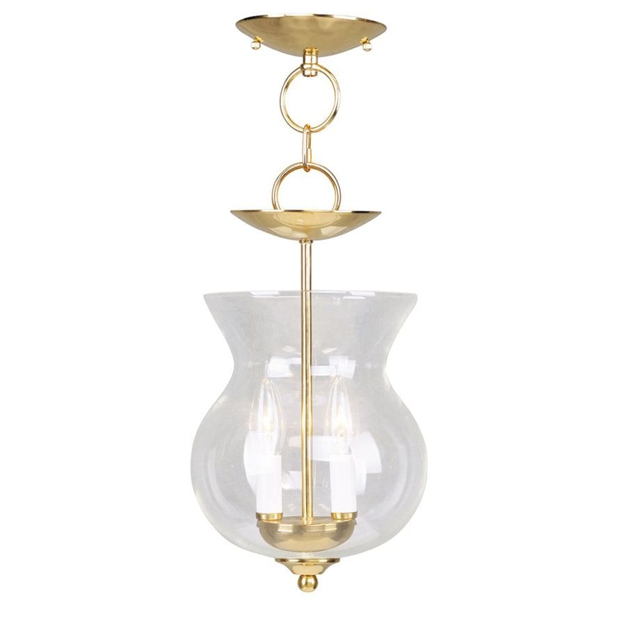 Livex Lighting Home Basics 8.25-in Polished Brass Vintage Mini Clear Glass Urn Pendant