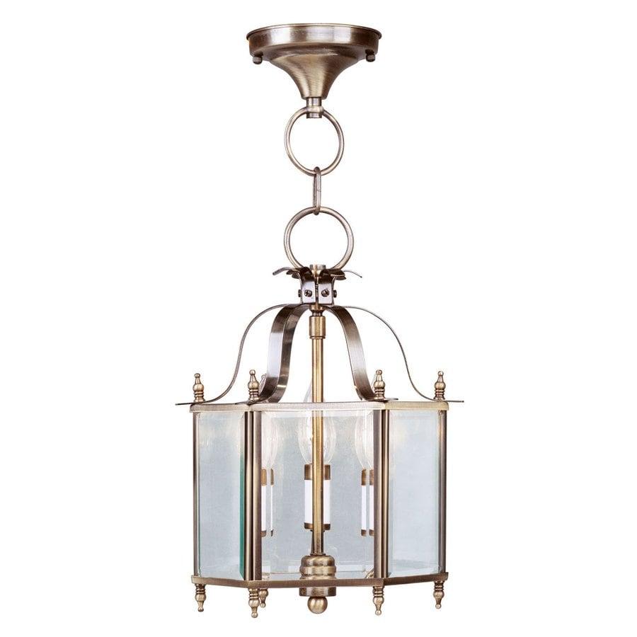 Livex Lighting Livingston 10-in Antique Brass Vintage Single Clear Glass Lantern Pendant