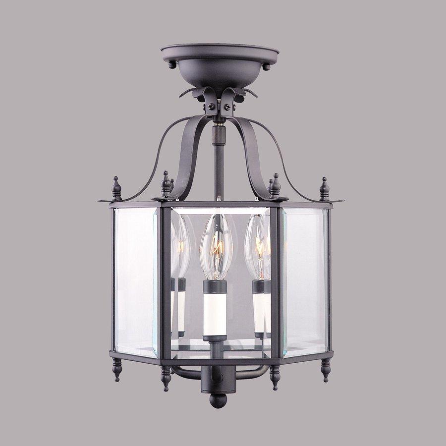 Livex Lighting Livingston 10-in W Bronze Clear Glass Semi-Flush Mount Light