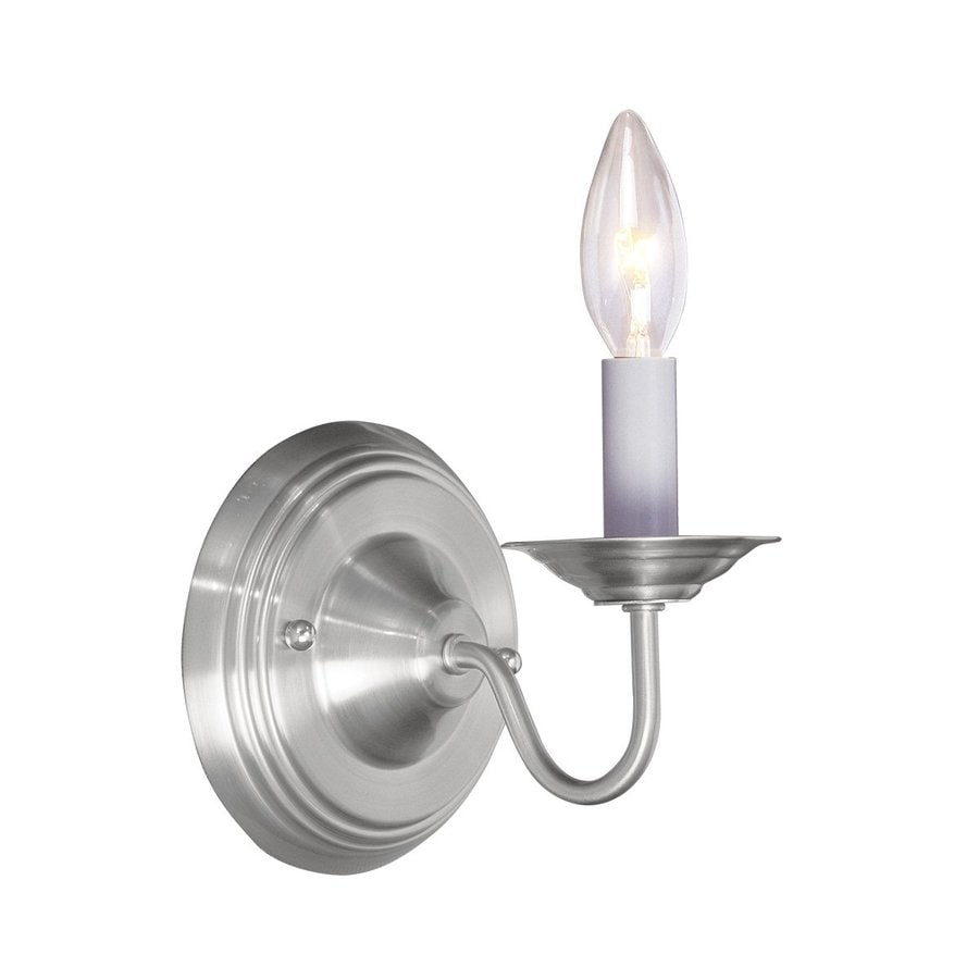 Livex Lighting Williamsburg 5-in W 1-Light Brushed Nickel Candle Wall Sconce