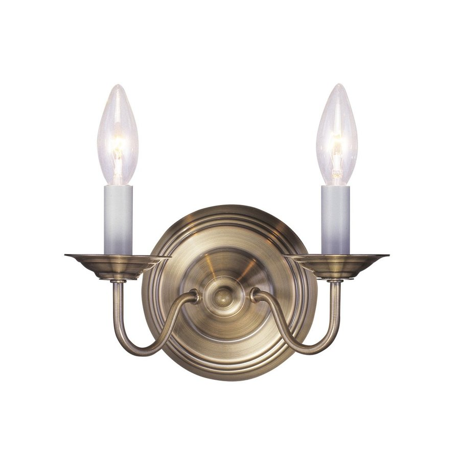 Livex Lighting Williamsburg 10-in W 2-Light Antique brass Candle Wall Sconce