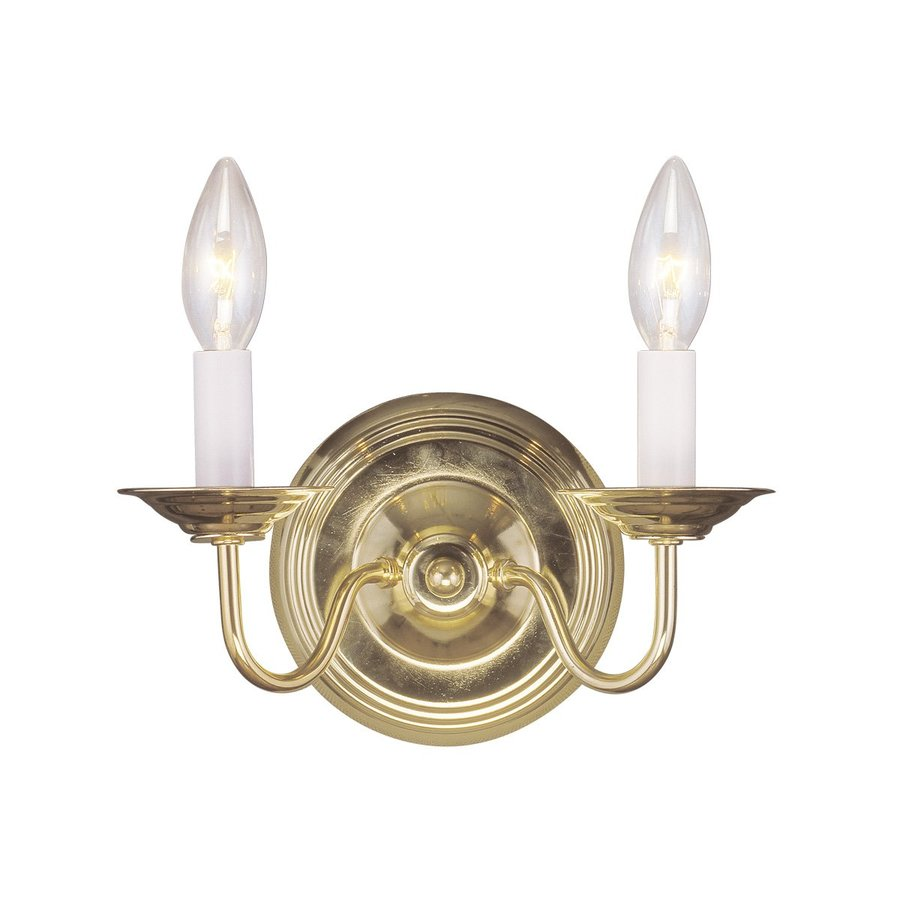 Livex Lighting Williamsburg 10-in W 2-Light Polished Brass Candle Wall Sconce